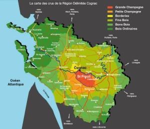 Carte des crus de la région délimitée Cognac
