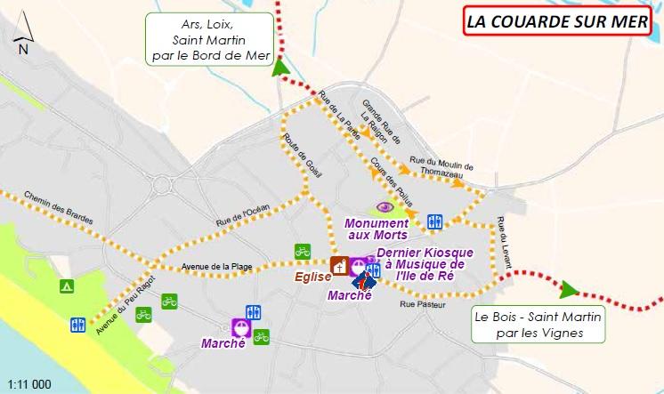 Plan des pistes cyclables : La Couarde sur Mer