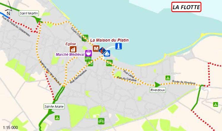 Carte des pistes cyclables : La Flotte (île de Ré)
