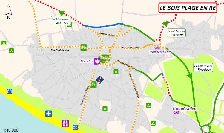 Carte des pistes cyclables : lLe Bois Plage en Ré