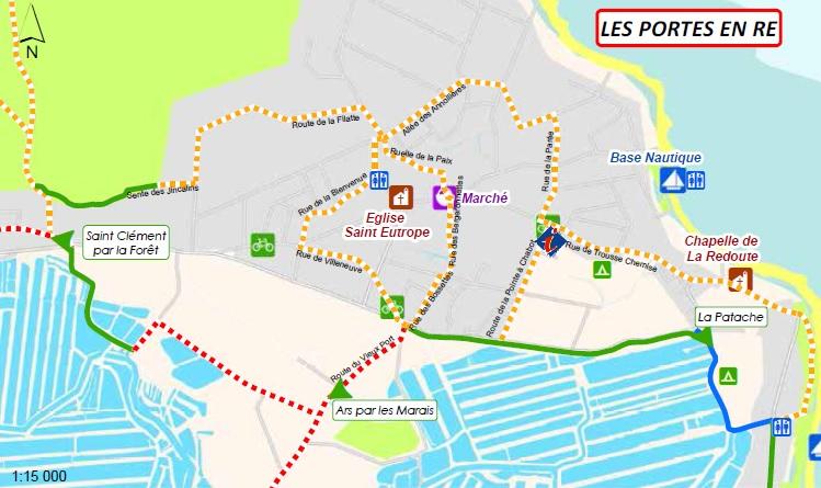 Carte des pistes cyclables : Les Portes en Ré