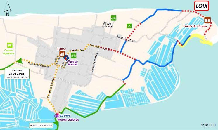 Plan des pistes cyclables Loix (Ré)