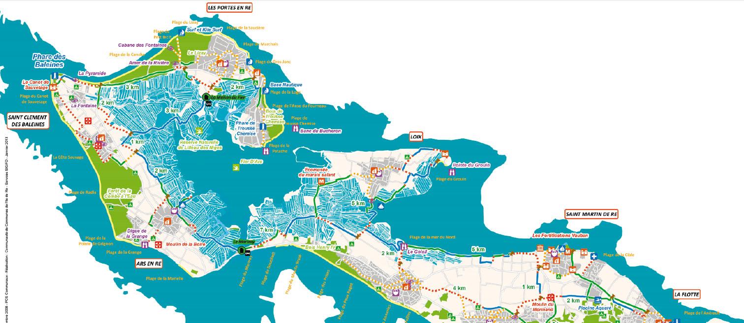 Cartes itinéraires cyclables île de Ré Nord
