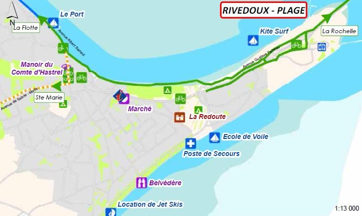 Plan des pistes cyclables Rivedoux Plage
