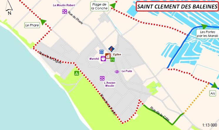 Plan des itinéraires cyclables : St Clément des Baleines