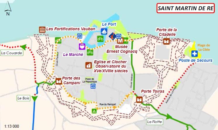 Plan des pistes vélos, St Martin de Ré