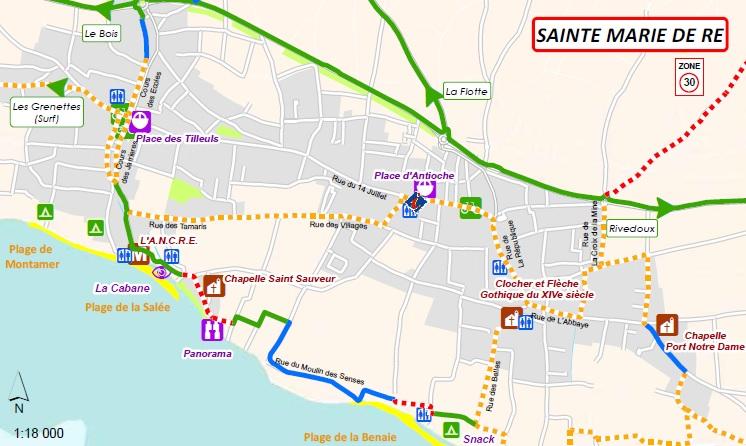 Cartes des pistes pour vélos : Ste Mare de Ré
