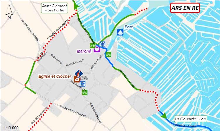 Carte des pistes cyclables Ars-en-Ré (île de Ré)