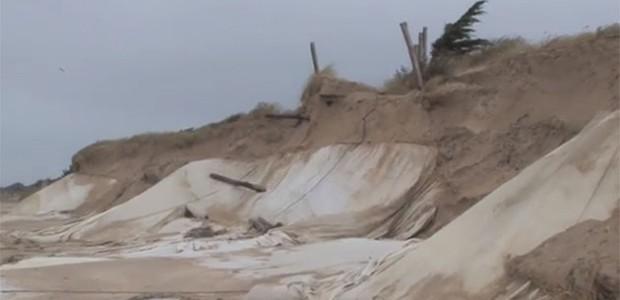 Dégâts sur la dune à la Couarde (janvier 2014)