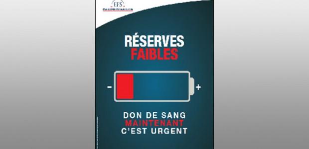 Appel au don de l'étabissement français du sans de La rochelle (Charente-Maritime)