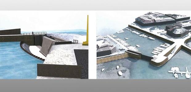 Travaux de construction de la porte de protection du ^port de la flotte contre les inondations