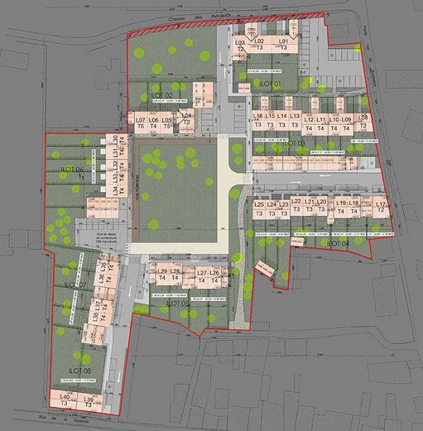 Plan masse du programme de logements sociaux du Bois-Plage (île de Ré)