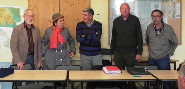 Michel Auclair, Marinette Caillaud, Michel Martin, Pierre Nivois et Alain Seret, lors de l'AG de l'Amicale des donneurs de sang bénévoles de l'île de Ré