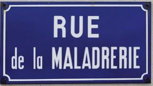 Pancarte rue de la Maladrerie, lieu de construction du nouveau quartier de La Flotte