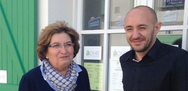 Geneviève Teruin responsable de l'ADMR île de Ré ('aide à domicile) a consacré 30 ans de sa vie au bénévolat, ici avec son assistant de gestion Xavier Sejourne.