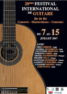 Affiche festival international de guitare 2017 de l'ile de Ré