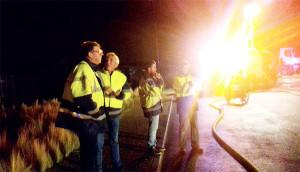 Lionel Quillet et Patrick Rayton se sont rendus immédiatement sur place le soir de l'incendie du centre de transfert © Jean-Pierre Gaillard
