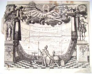 Diplôme maçonnique accordé à Charles Villeneuve ; loge de la Sagesse 1806 - Musée Ernest Cognacq, ville de Saint-Martin de Ré