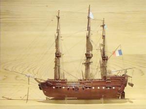« Le Géographe » navire de Nicolas Baudin, lors de l'expédition en Terres Australes. Maquette de Pierre Rivaille descendant de Nicolas Baudin. Musée Ernest-Cognacq, ville de Saint-Martin.