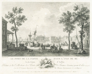 Le Port de La Flotte, tirage sur papier d'une gravure sur cuivre, Le Gouaz 1787 - (Coll. Musée Ernest Cognacq – Ville de Saint-Martin-de-Ré).