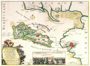Carte ancienne de l'ile de Ré. Charles Allard 1702